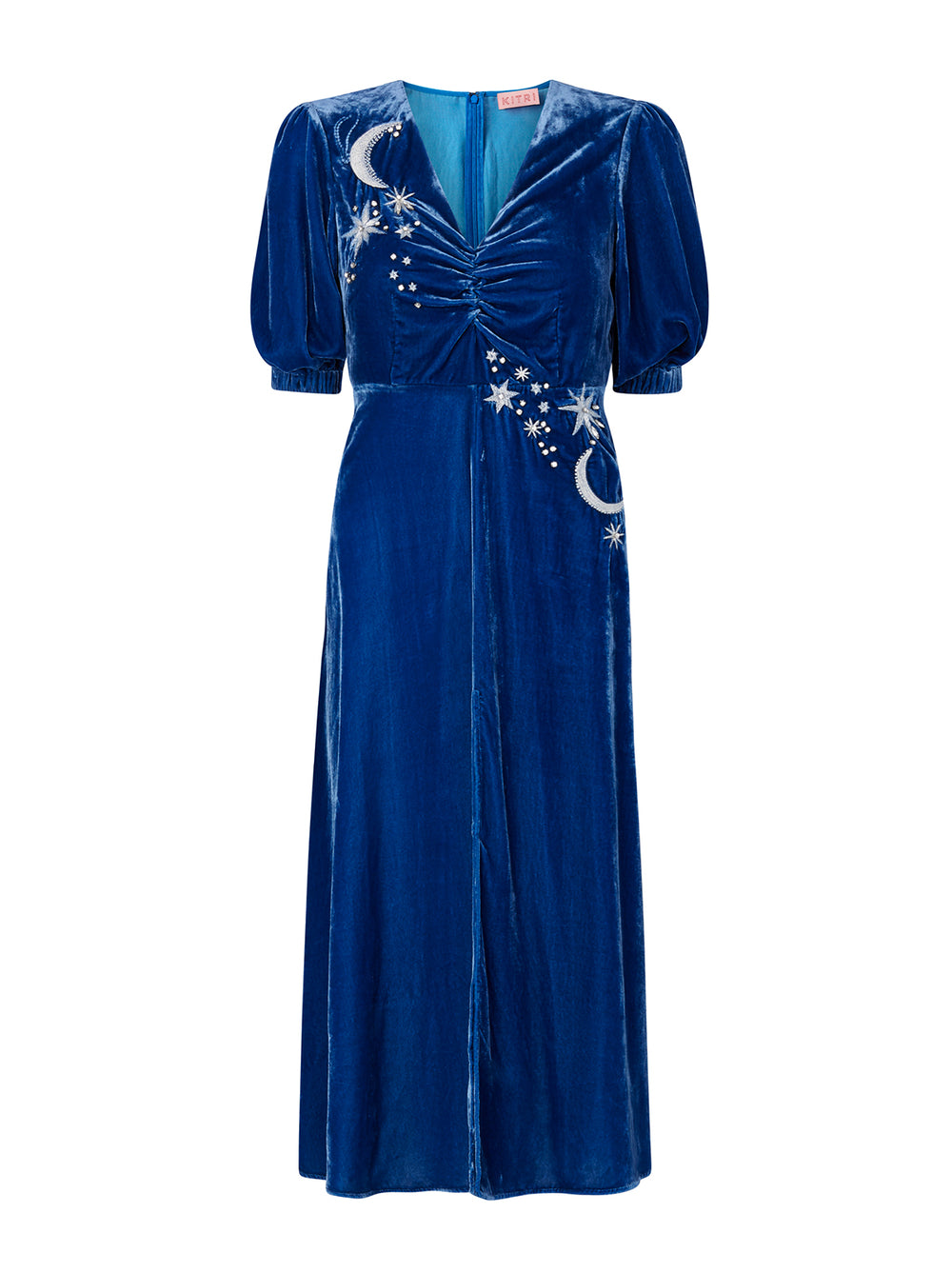 Sylvia Blue Embroidered Velvet Midi Dress by KITRI Studio