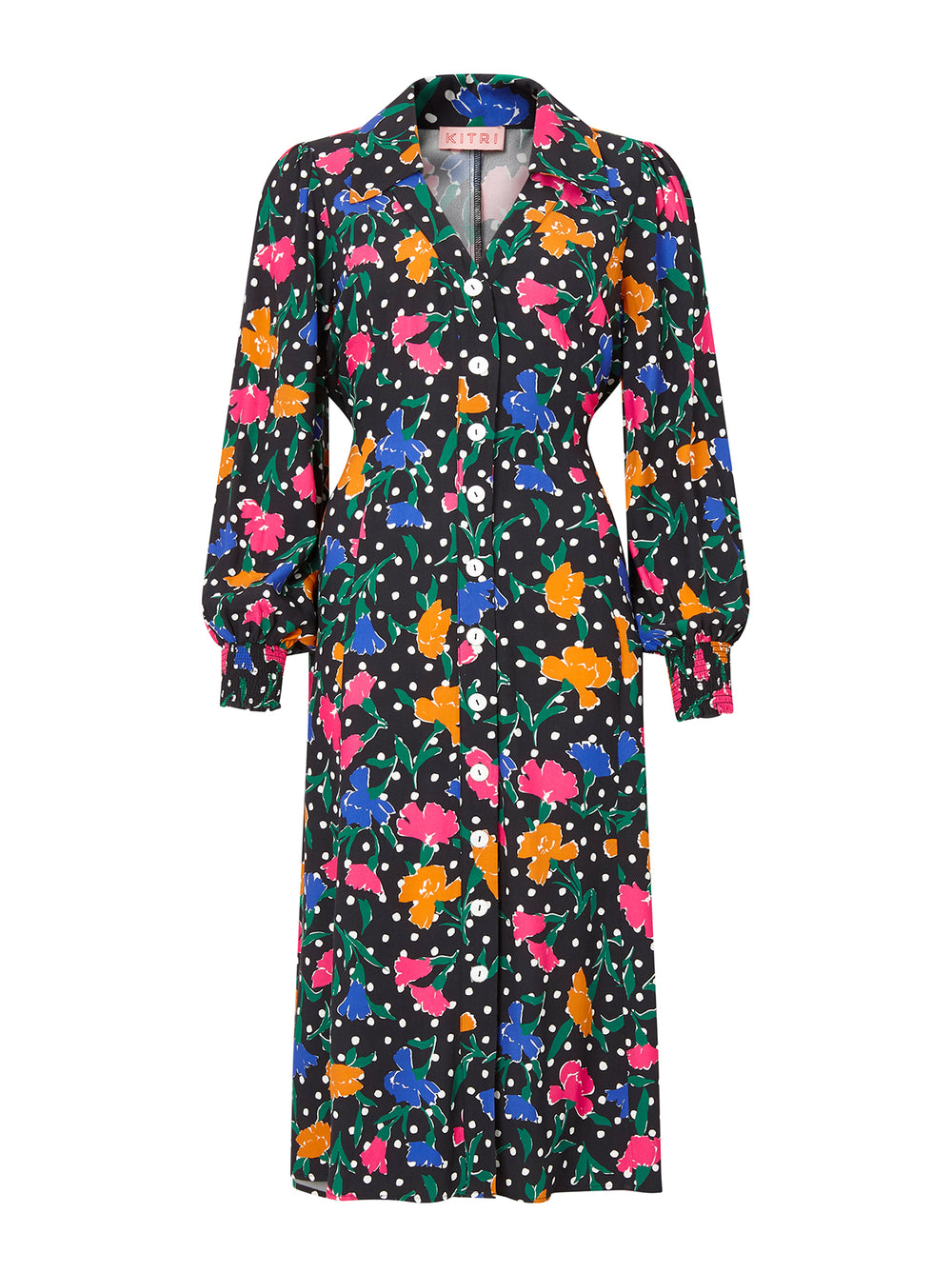 Sylvie Floral Polka Dot Shirt Dress by KITRI Studio