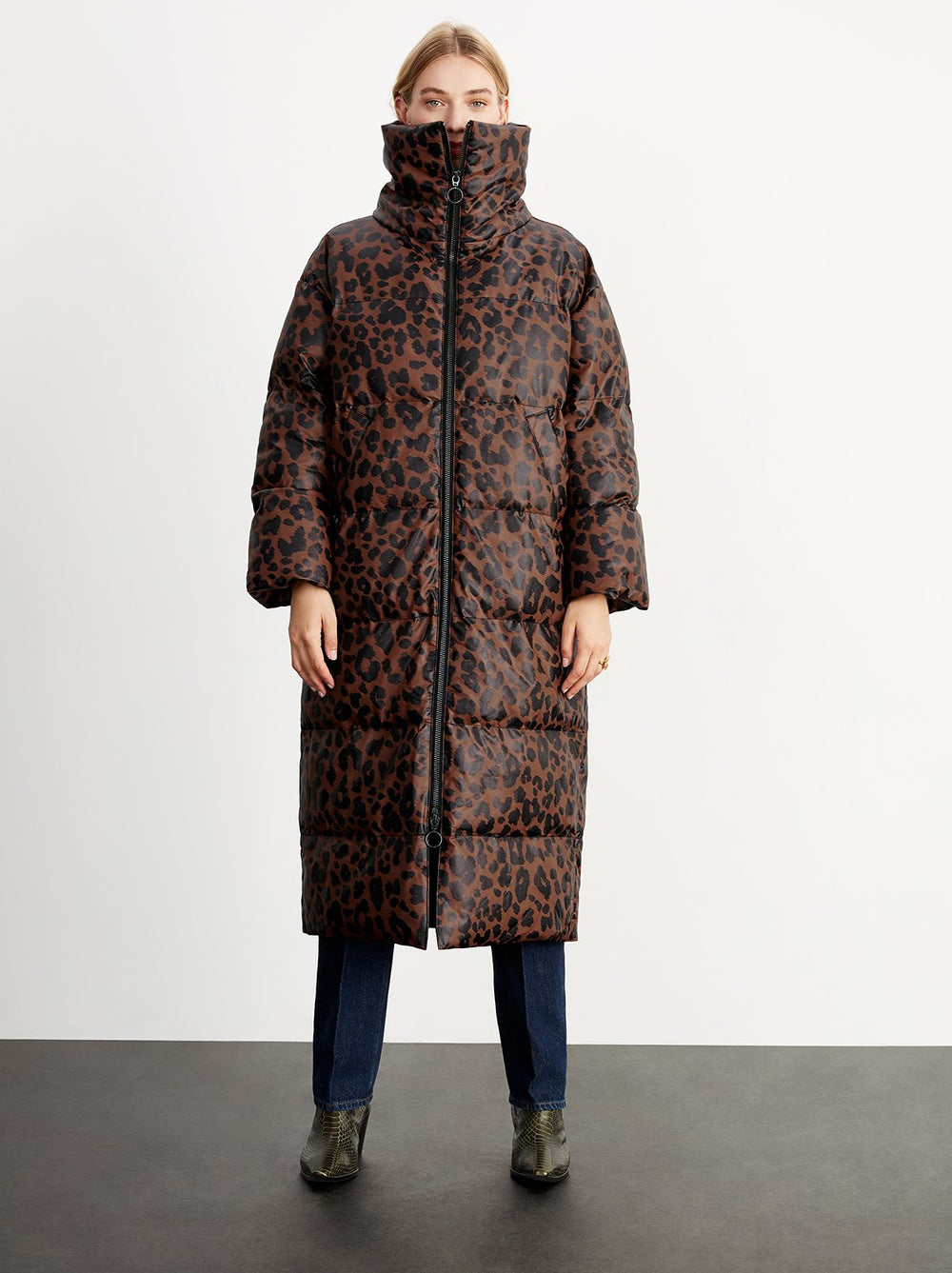 Tamara Leopard Print Faux Leather Puffer Coat by KITRI Studio