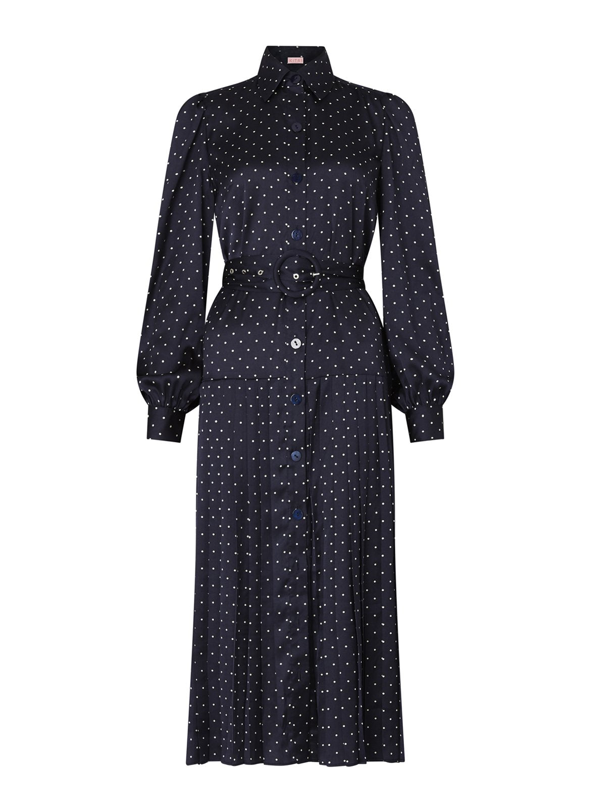 Tara Navy Polka Dot Pleated Shirt Dress by KITRI Studio