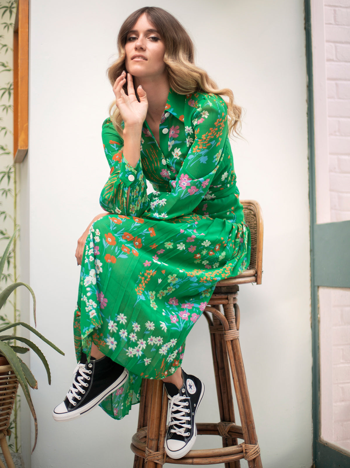 Tara Green Floral Print Shirt Dress