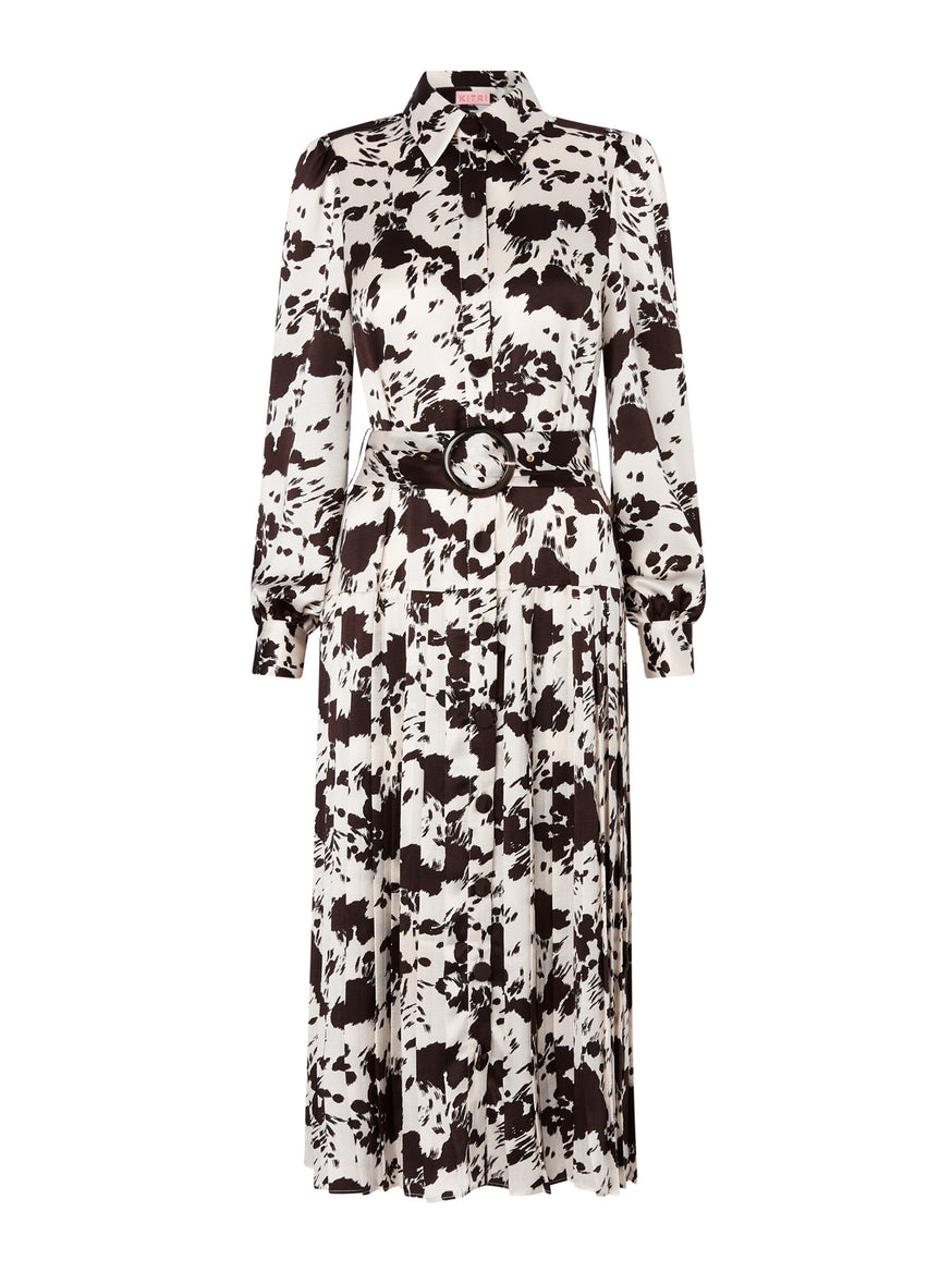Tara Cow Print Pleated Dress by KITRI Studio