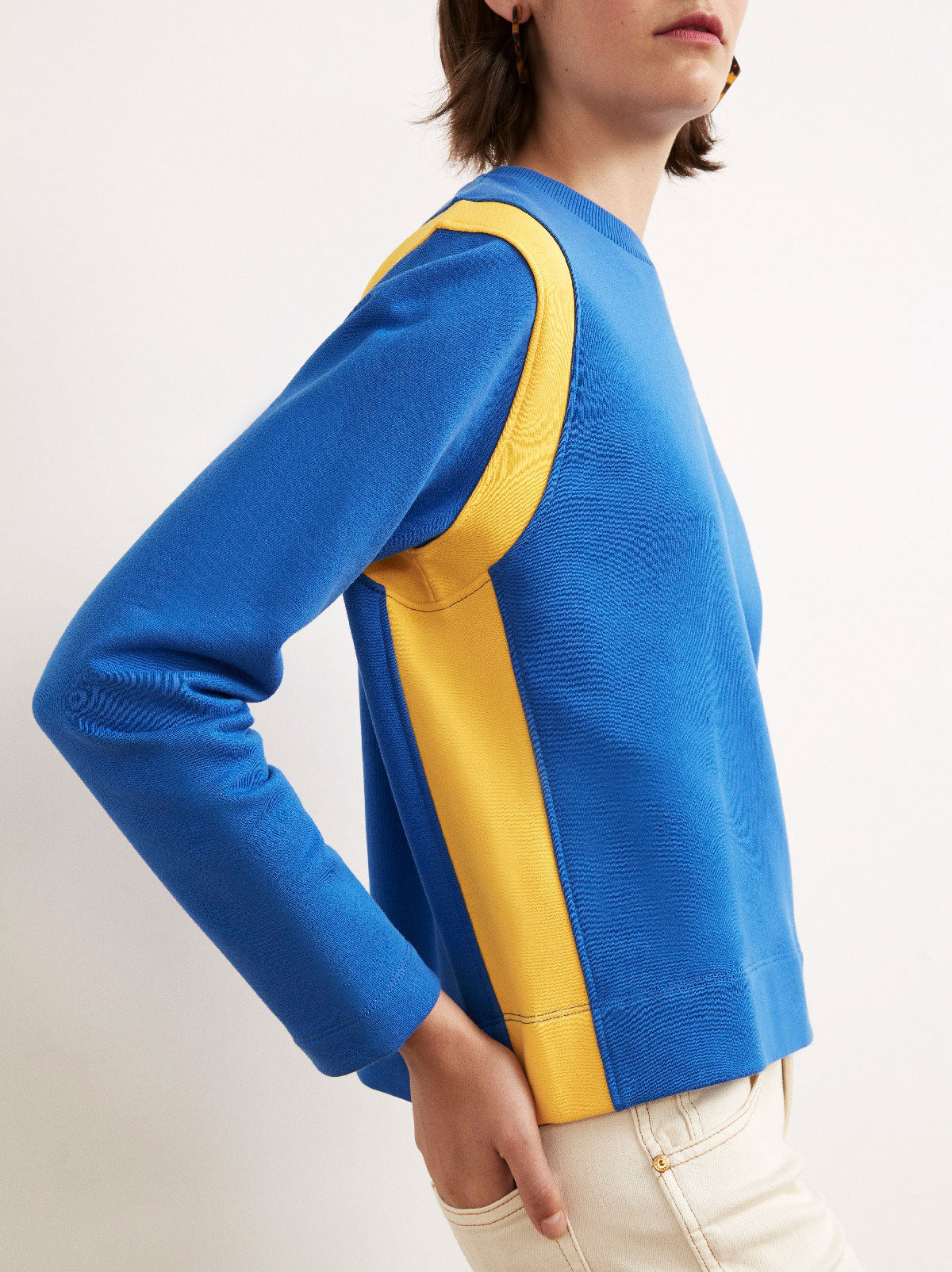 Therese Cotton Contrast Stripe Sweatshirt by KITRI Studio