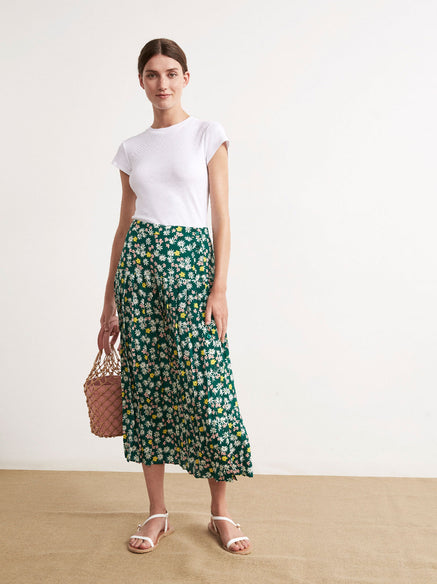 Tina Floral Print Pleated Midi Skirt by KITRI Studio