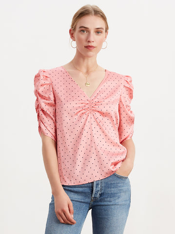 Tonya Pink Polka Dot Vintage Top by KITRI Studio