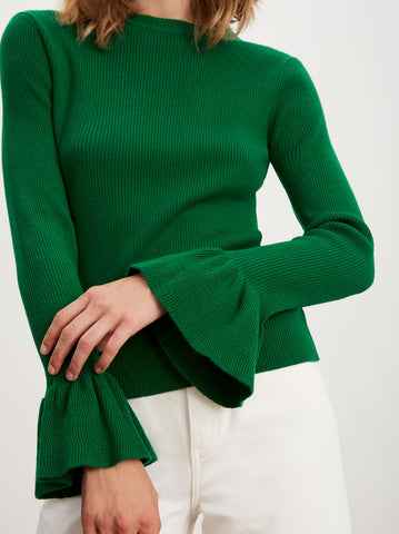 Vivien Green Merino Rib Knit Jumper by KITRI Studio