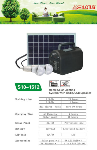 Home 10W Solar Lighting System with USB Speaker (S10-1512)