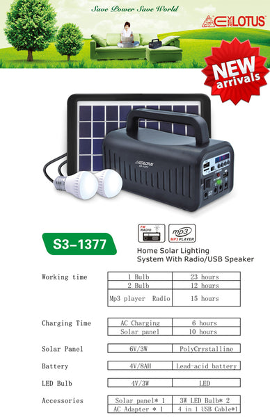 Home 3W Solar Lighting System with USB Speaker (S3-1377)
