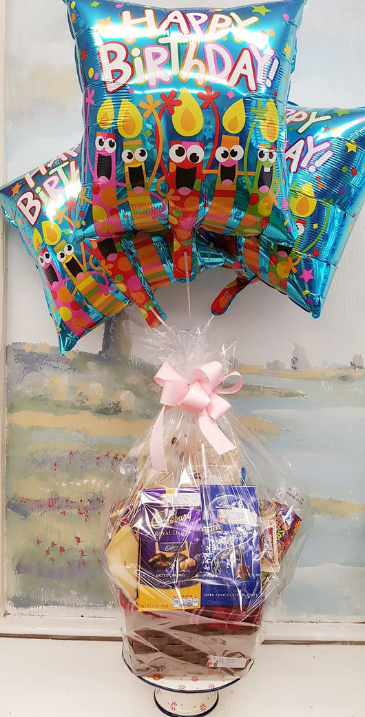 Gourmet Snack  Food Basket With Happy Birthday Balloons