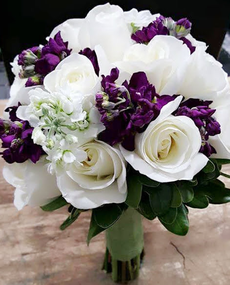 Wedding Bridal Bouquet - White with Purple