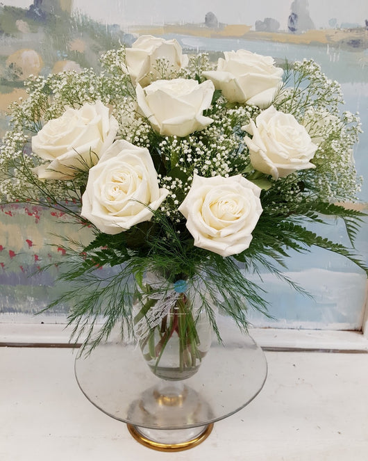 Dozen White Luxury Rose  Bouquet