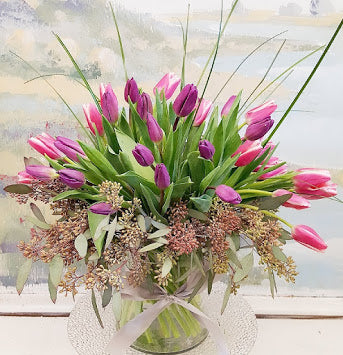 2121  Mother's Day Tulip  Vase Arrangement