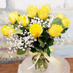 Dozen Long  Stem  Yellow Rose Luxury Bouquet