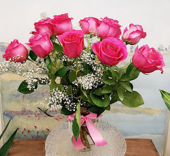 Dozen  Long Stem Hot Pink Red Rose Luxury Bouquet