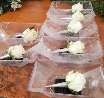 2019 White Rose Boutonniere