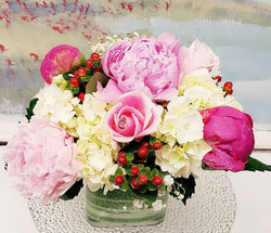 Peony Season Luxury Cube Arrangement