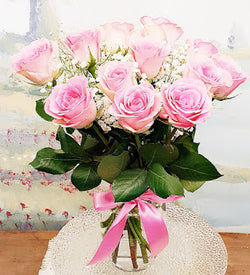 Dozen Long Stem Pink  Rose Luxury Bouquet