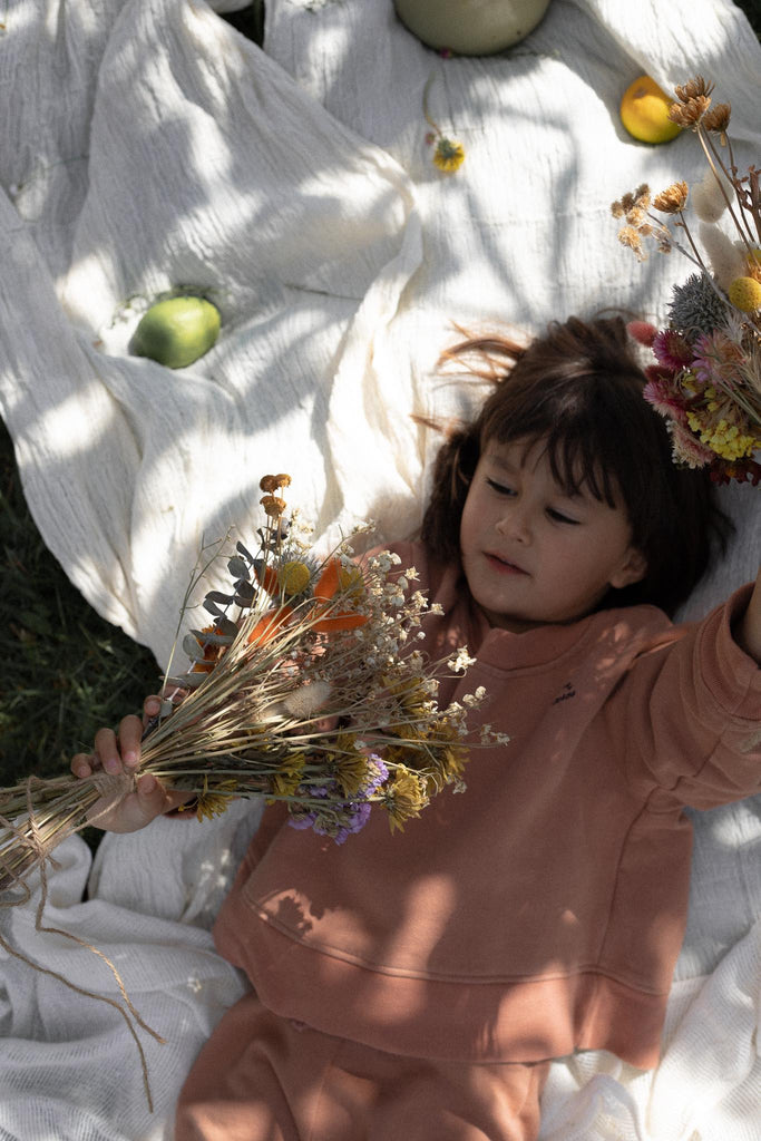 Dried flowers, natural childrens wear, organic, sustainable, ethical