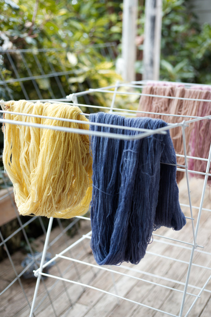 naturally dyed yarns drying