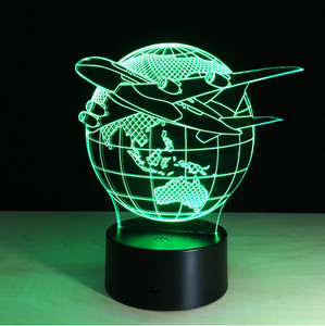 Beautiful Plane Flying around Earth color changing 3D Lamps