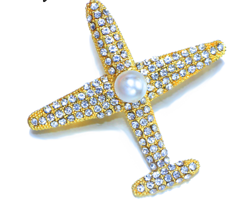 Metal Airplane Brooch