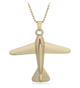 Golden Airplane Necklace