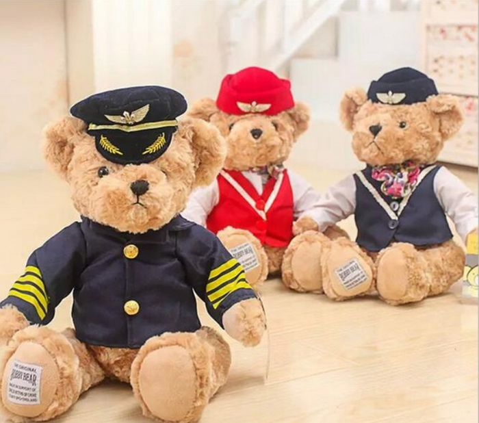 Cute Fluffy and Soft  Captain and Flight Attendant Teddy Bear
