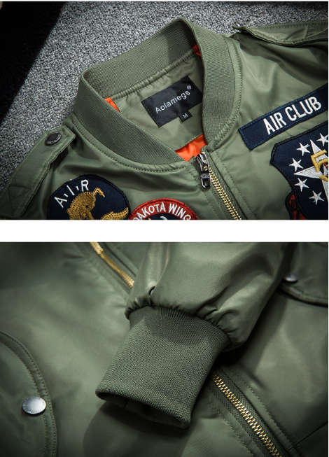 Designed Pilot Bomber Jackets Bee Embroidery