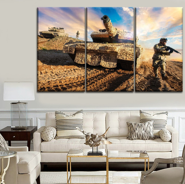 HD Modern Canvas Wall Art Frame Army Soldier with Sunset