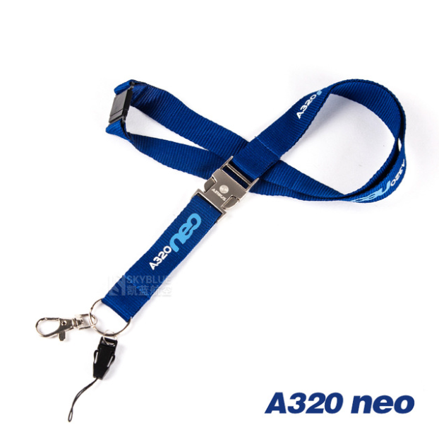 Airbus A320neo Lanyard with Metal Buckle Blue Ribbon