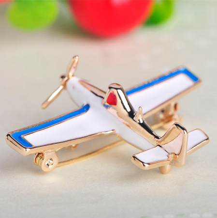 Fashion Airplane  Gold Brooch
