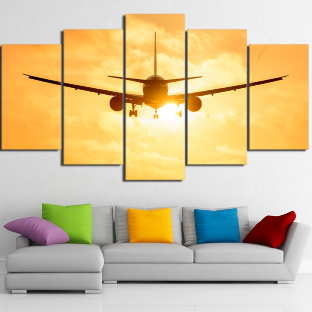 HD Sunset Lights Airplane Framework