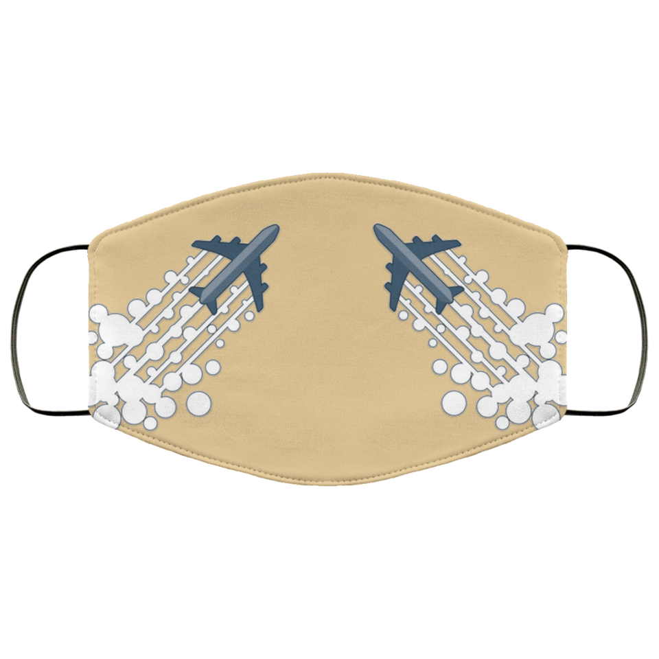 AIRPLANES IN FORMATION DESIGNED FACE MASKS
