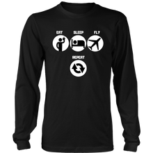Load image into Gallery viewer, EAT SLEEP FLY REPEAT Tees, Long Sleeves, and Hoodies