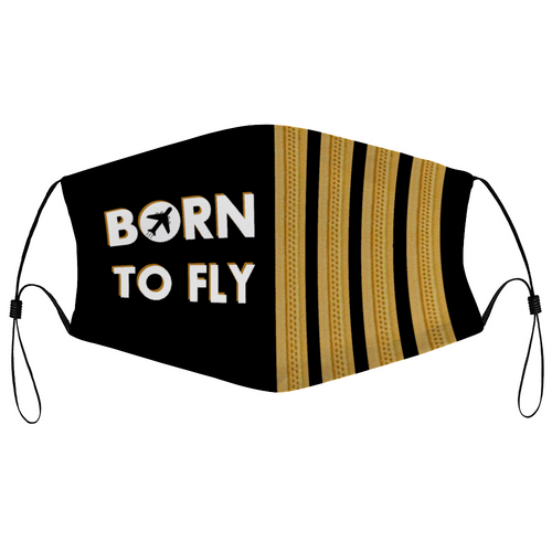 BORN TO FLY & PILOT EPAULETTES DESIGNED FACE MASKS