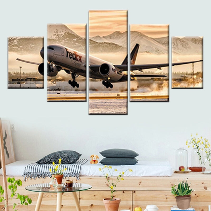 HD Printing 5 Pieces Plane Take Off