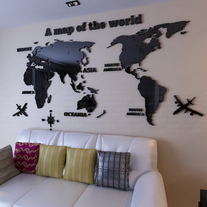 Airplane and world  3D Wall Sticker Vinyl Adhesive
