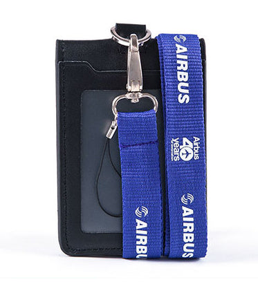 Airbus Logo Lanyard with ID Card Holder PU Leather Badge Case
