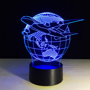Beautiful Plane Flying around Earth 3D Lamp