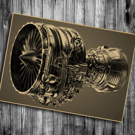 Aircraft engine Vintage poster - Enjoy Aviation - AVIATION gifts -keychains-free ebook how to become a pilot