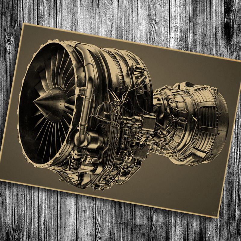 Aircraft engine Vintage poster