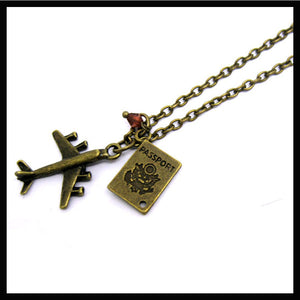 Travel airplane passport necklace