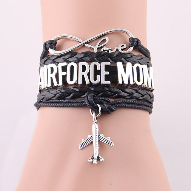 Casual  AIRFORCE MOM  Leather Bracelets
