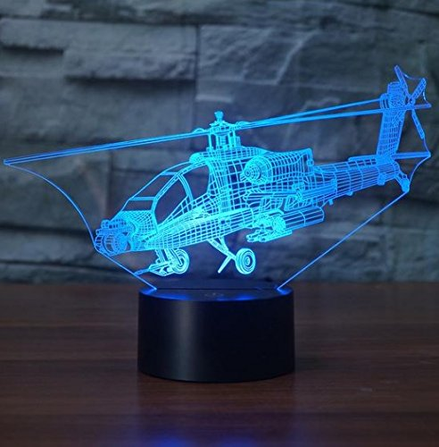 Helicopter 3D Color changing 3D Lamps