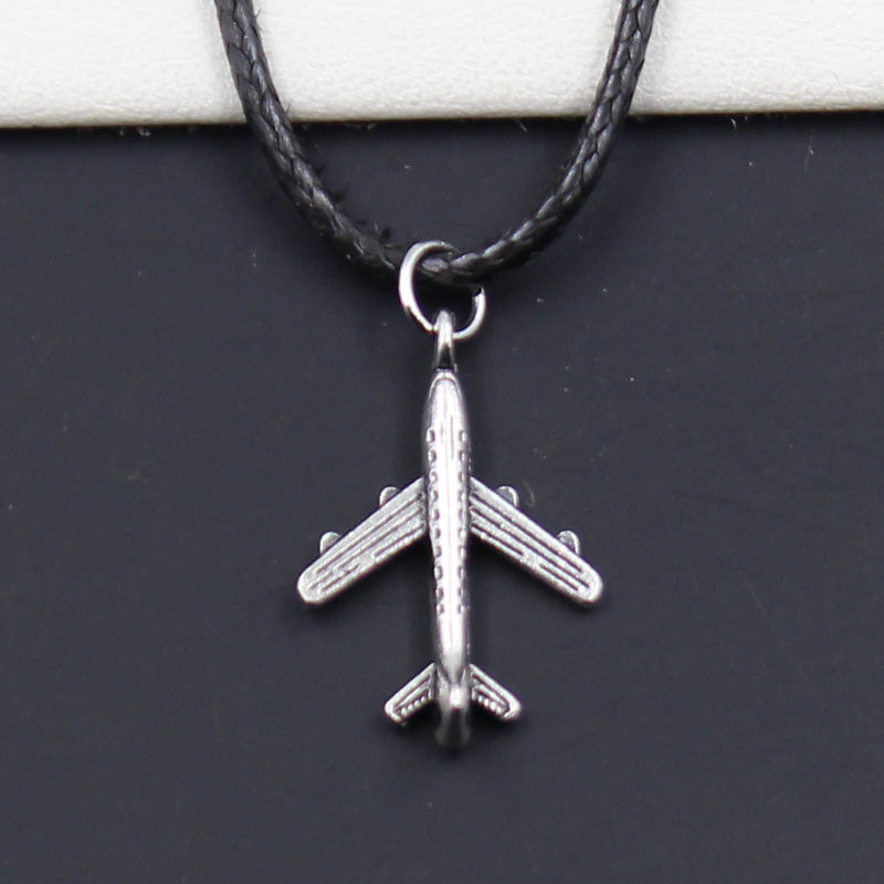 Leather airplane Pendant