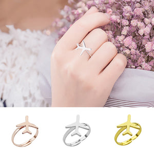 Fashion Alloy Silvery Airplane Adjustable Ring