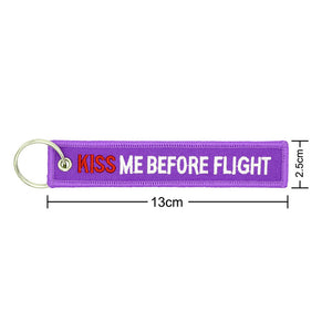 Purple kiss me before flight keychains