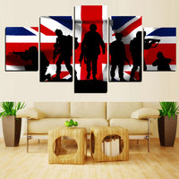 HD Modern Canvas Wall Art Frame United Kingdom Army And Flag