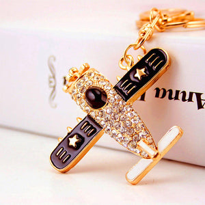 Fashion Crystal  Aircraft  Keychain