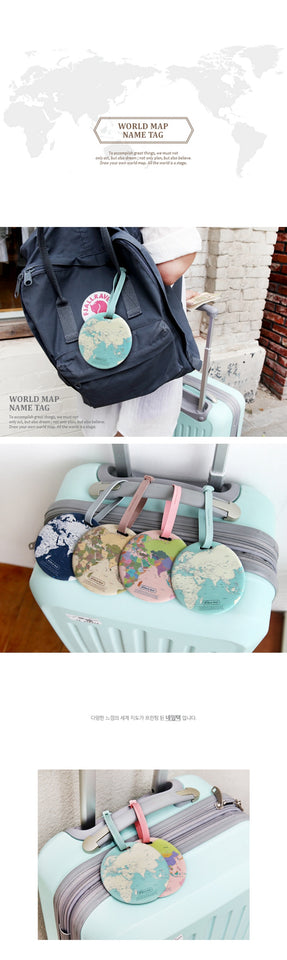 Fashion 3D Map of the World Luggage Tag
